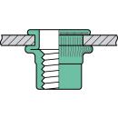 Blindnietmutter Aluminium  M4  Flachrundkopf Rundschaft  offen rilliert|0,5-3,0mmk