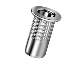 Blindnietmutter Aluminium  M5  Flachrundkopf Rundschaft  offen rilliert|3,1-6,0mm