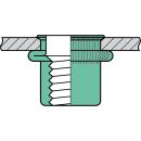 Blindnietmutter Aluminium  M5  Kleiner Senkkopf Rundschaft  offen rilliert|0,5-3,0mm