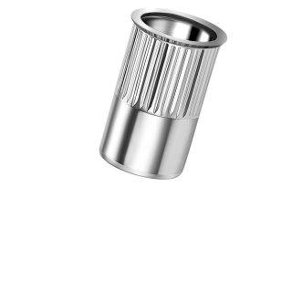 Blindnietmutter Edelstahl A2   M5  Kleiner Senkkopf Rundschaft  offen rilliert 0,5-3,0mm