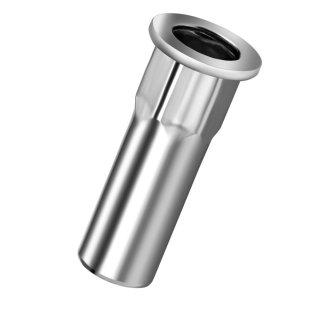 Blindnietmutter Edelstahl A2  FK M4  Flachrundkopf Teilsechskant  geschlossen 0,5-3,0mm