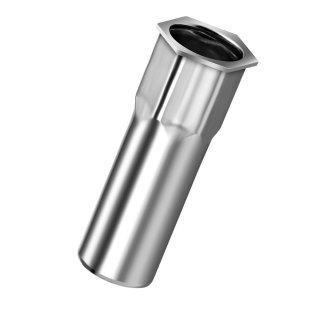 Blindnietmutter Edelstahl A2  M5  Kleiner Senkkopf Teilsechskant  geschlossen|0,5-3,0mm