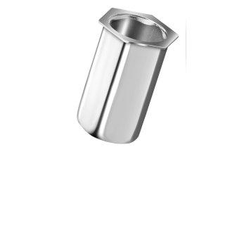 Blindnietmutter Edelstahl A2  M6  Kleiner Senkkopf Vollsechskant  offen|0,5-3,0mm