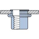 Blindnietmutter Stahl  M6  Kleiner Senkkopf Rundschaft  geschlossen rilliert|0,5-3,0mm