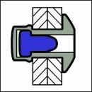 Sealed Dicht-/Becherniet Alu/Edelstahl A2 FK 4,8 X 18 11,0-13,0mm
