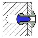 Grooved  rillierte Blindniet Alu/Stahl FK 4,8 X 08|max,4mm