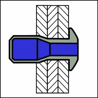 P-Power Hochfeste Struktur Blindniet Edelstahl A2/A2 FK 6,4 X 20|2,0-15,9mm