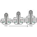 Split Power Presslaschen-Blindniet  Neopren Dichtscheibe Alu/Alu FK 6,4 X 20,2|1,6-6,4mm