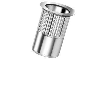 Blindnietmutter Stahl  M4  Senkkopf Rundschaft  offen rilliert|1,5-3,5mm