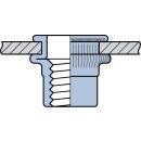 Blindnietmutter Stahl  M8  Flachrundkopf Rundschaft  offen rilliert|3,1-5,5mm